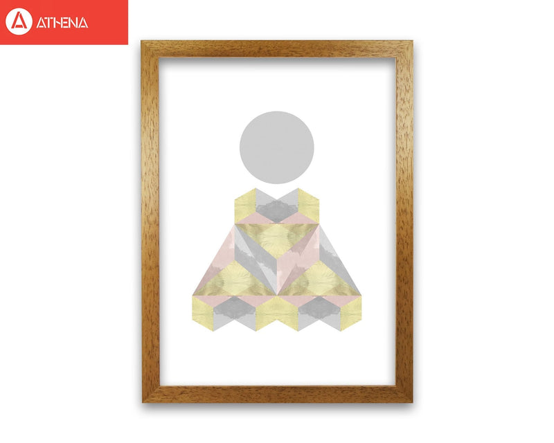 Gold, pink and grey abstract shapes modern fine art print