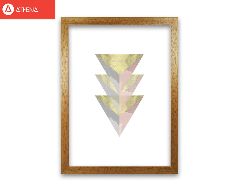 Gold, pink and grey abstract triangles modern fine art print