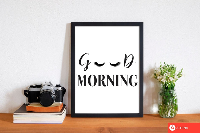 Good morning lashes modern fine art print, framed typography wall art