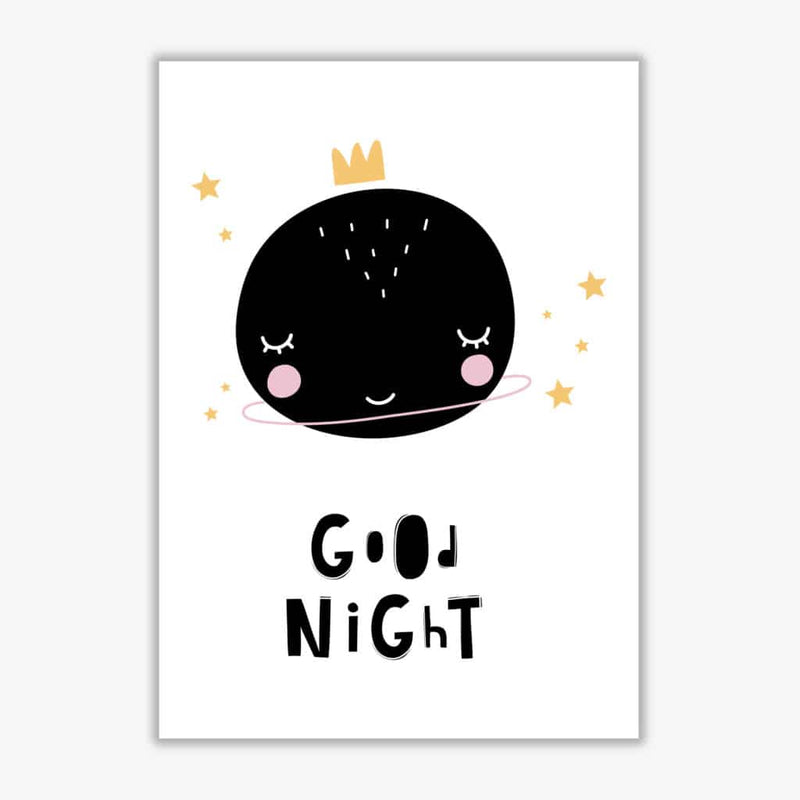 Good night planet modern fine art print, framed childrens nursey wall art poster
