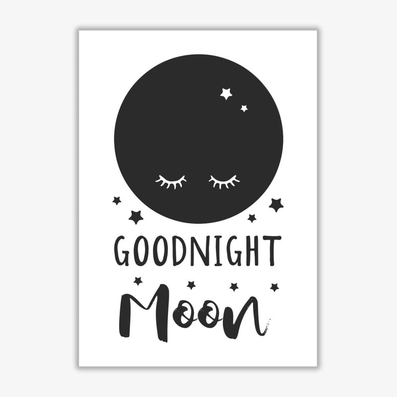 Goodnight moon black modern fine art print, framed childrens nursey wall art poster
