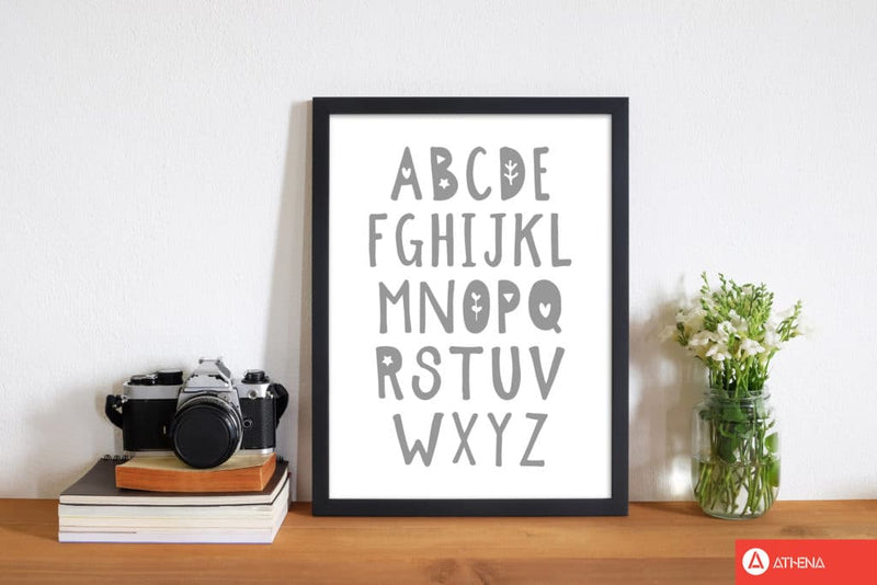 Grey alphabet modern fine art print, framed childrens nursey wall art poster