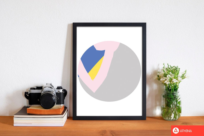 Grey, pink and navy abstract circle modern fine art print