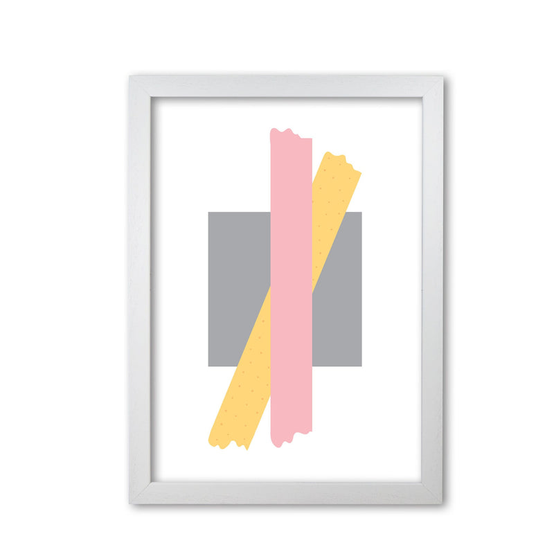 Grey square with pink and yellow bow abstract modern fine art print