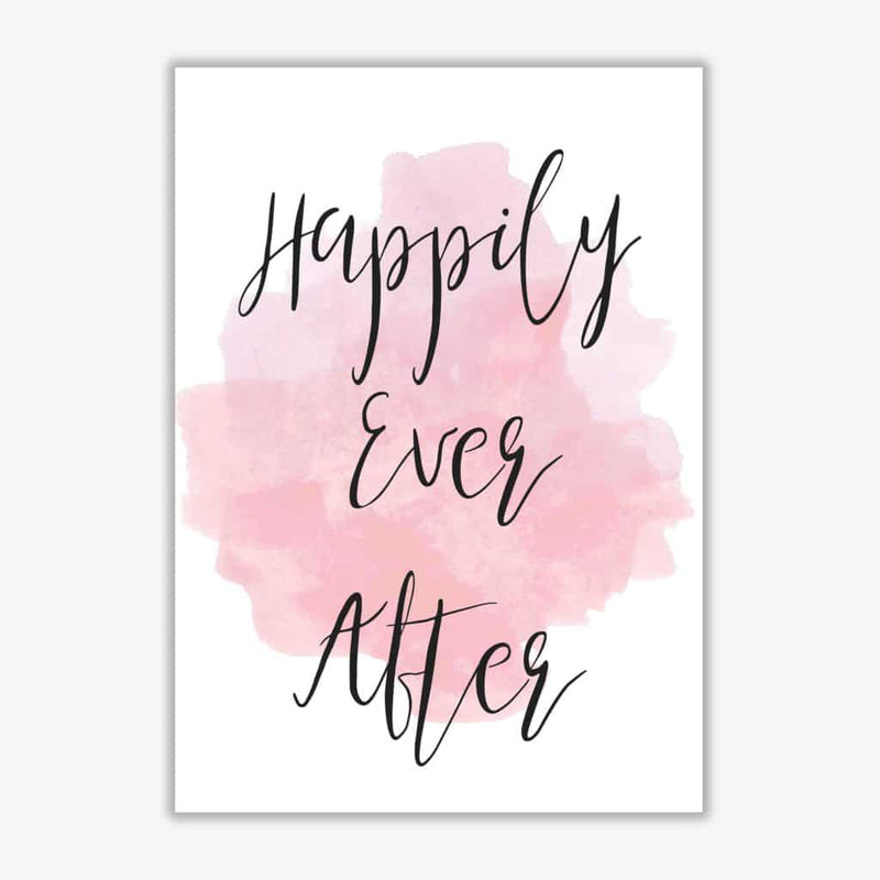 Happily ever after pink watercolour modern fine art print