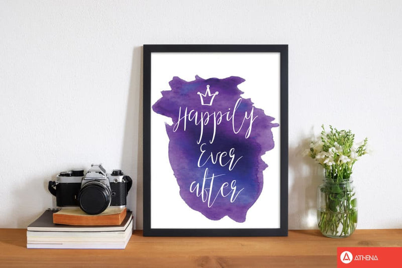 Happily ever after purple watercolour modern fine art print