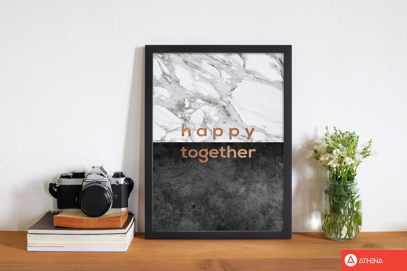 Happy together copper quote fine art print by orara studio