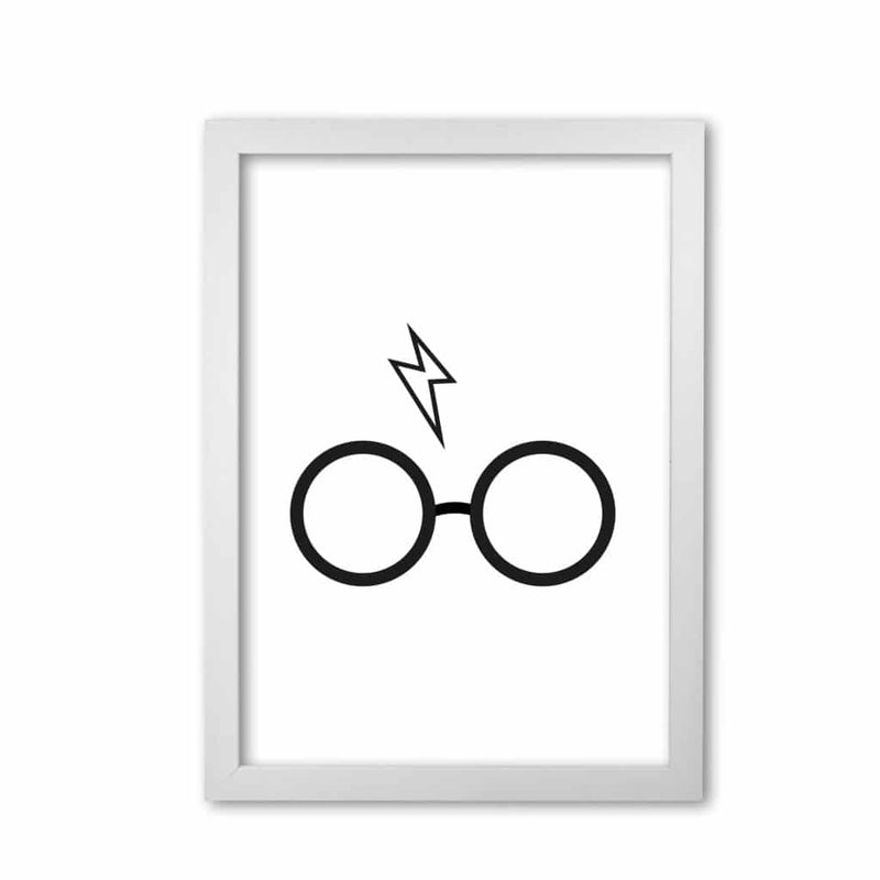 Harry potter glasses and scar modern fine art print, framed childrens nursey wall art poster