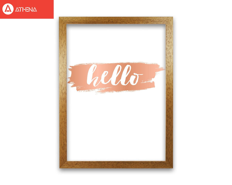 Hello rose gold modern fine art print, framed typography wall art