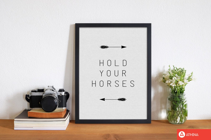 Hold your horses arrow quote fine art print by orara studio