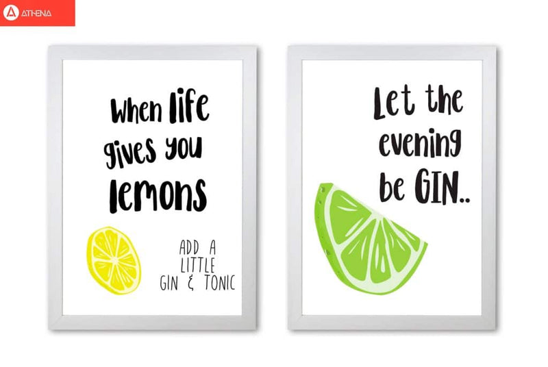 Humorous gin sayings multi set fine art kitchen typography wall art poster print | framed or print only | free shipping