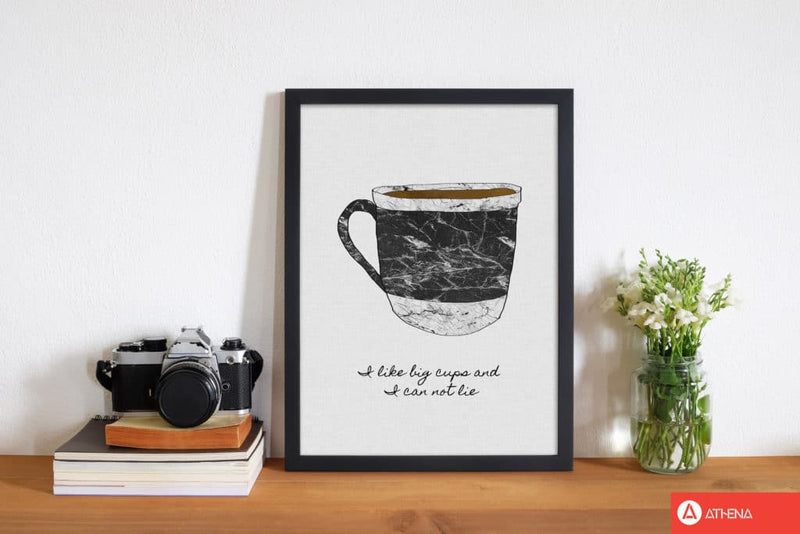 I like big cups fine art print by orara studio, framed kitchen wall art