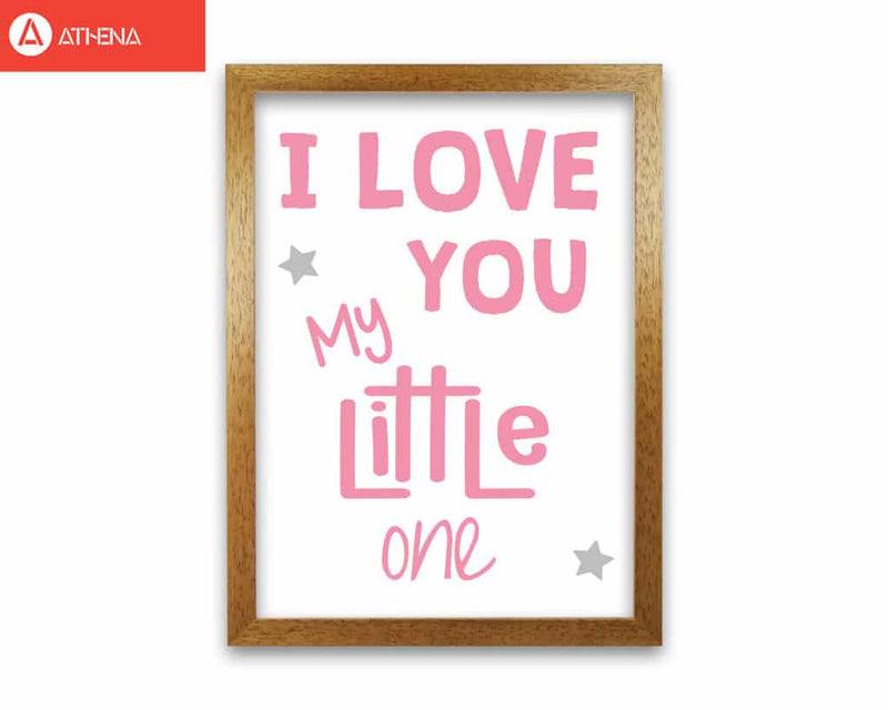 I love you little one pink modern fine art print, framed childrens nursey wall art poster