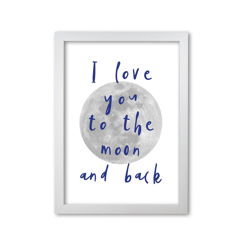I love you to the moon and back navy modern fine art print, framed typography wall art