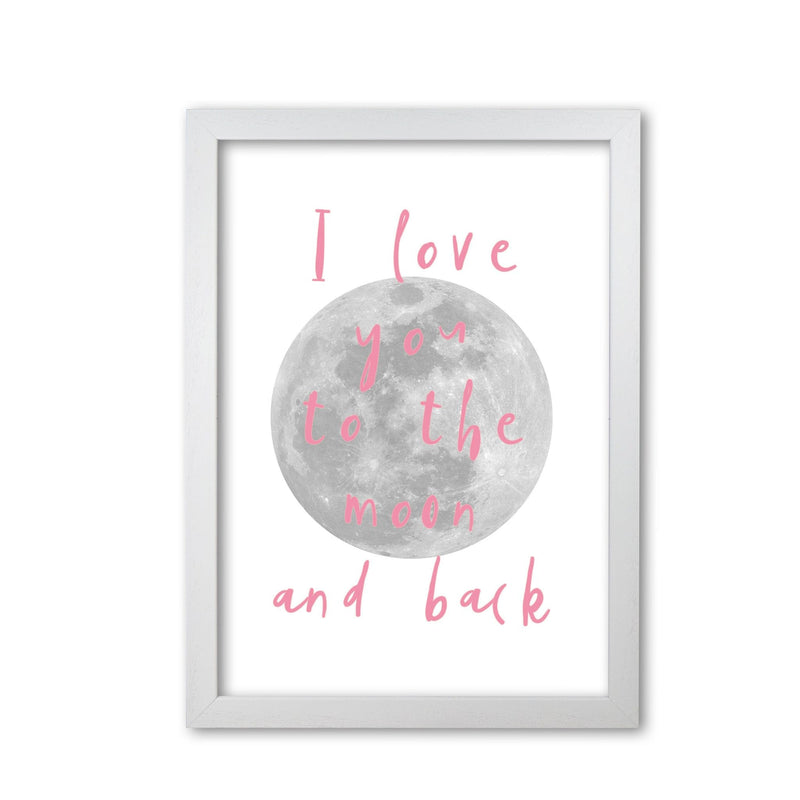 I love you to the moon and back pink modern fine art print, framed typography wall art