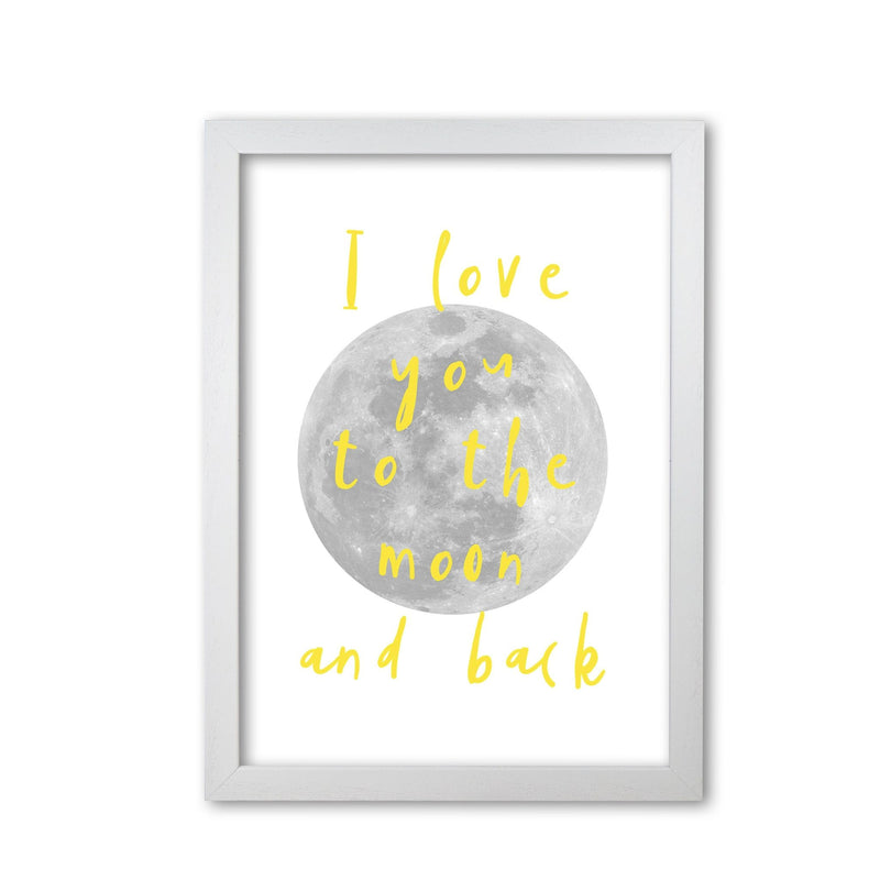 I love you to the moon and back yellow modern fine art print, framed typography wall art