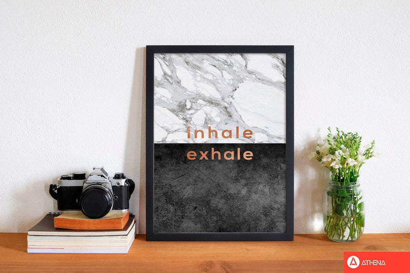 Inhale exhale copper quote fine art print by orara studio