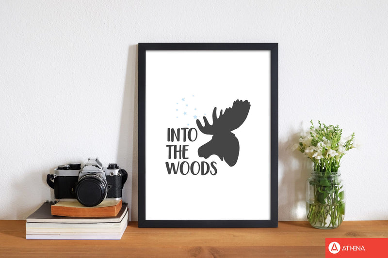 Into the woods modern fine art print, framed typography wall art