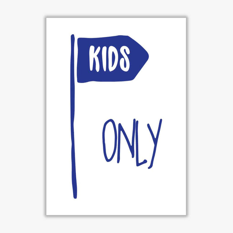 Kids only navy modern fine art print, framed childrens nursey wall art poster