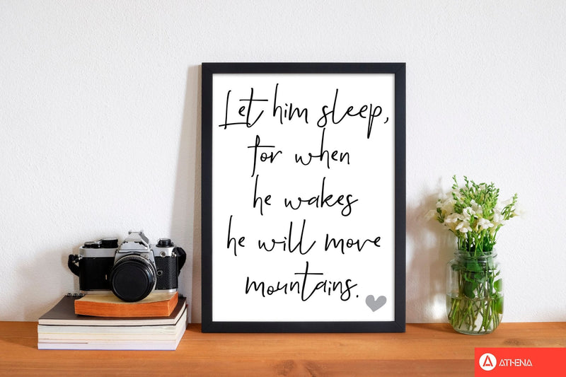 Let him sleep modern fine art print, framed typography wall art