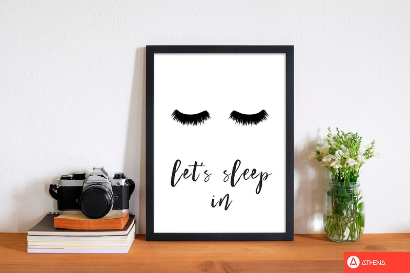 Lets sleep in lashes modern fine art print, framed typography wall art