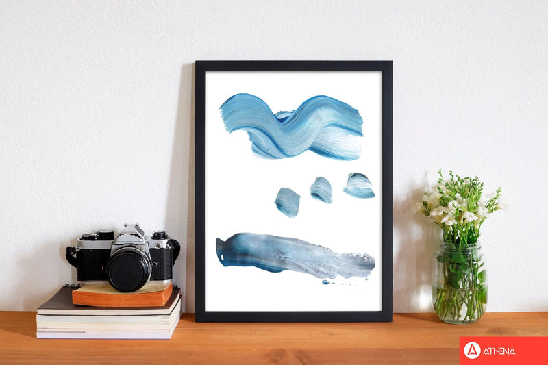 Light blue abstract paint strokes modern fine art print