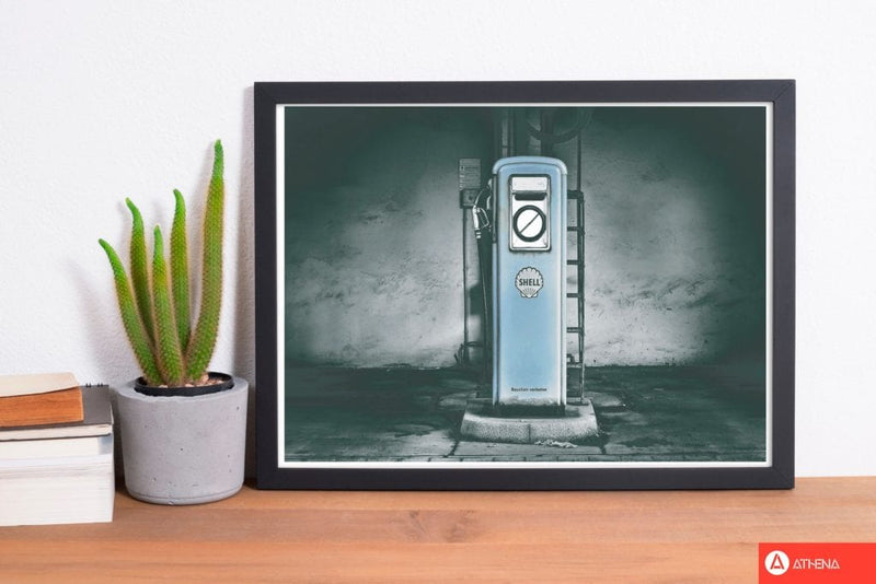 Little blue gas pump modern fine art print