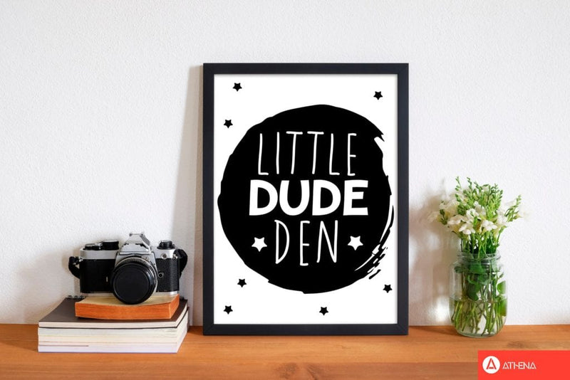 Little dude den black circle modern fine art print, framed childrens nursey wall art poster