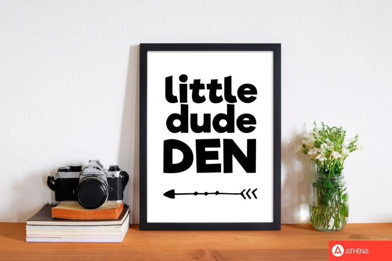 Little dude den black modern fine art print, framed childrens nursey wall art poster