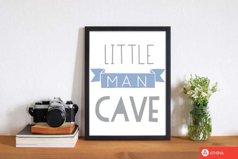 Little man cave blue banner modern fine art print, framed childrens nursey wall art poster