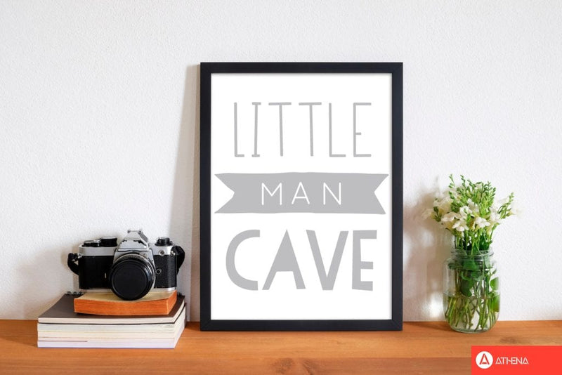 Little man cave grey banner modern fine art print, framed childrens nursey wall art poster