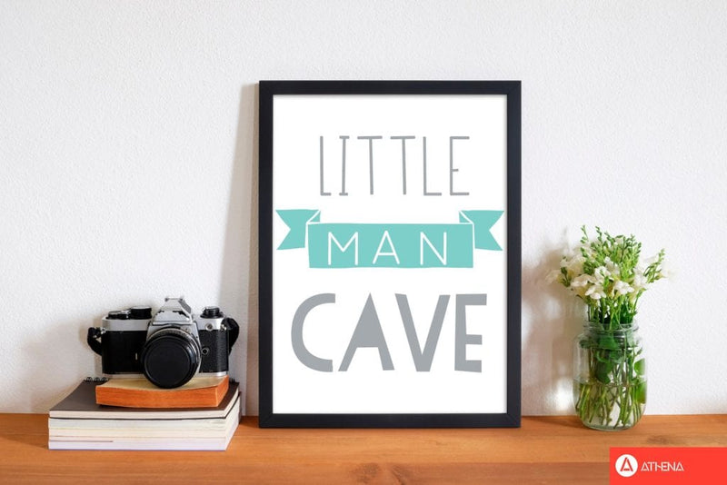 Little man cave mint banner modern fine art print, framed childrens nursey wall art poster