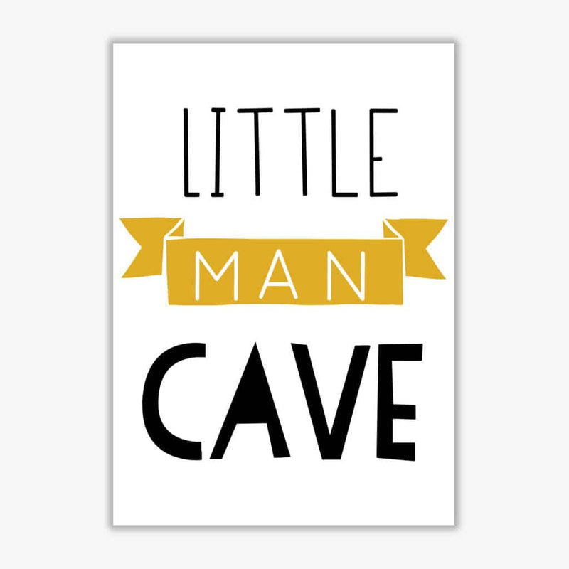 Little man cave mustard banner modern fine art print, framed childrens nursey wall art poster