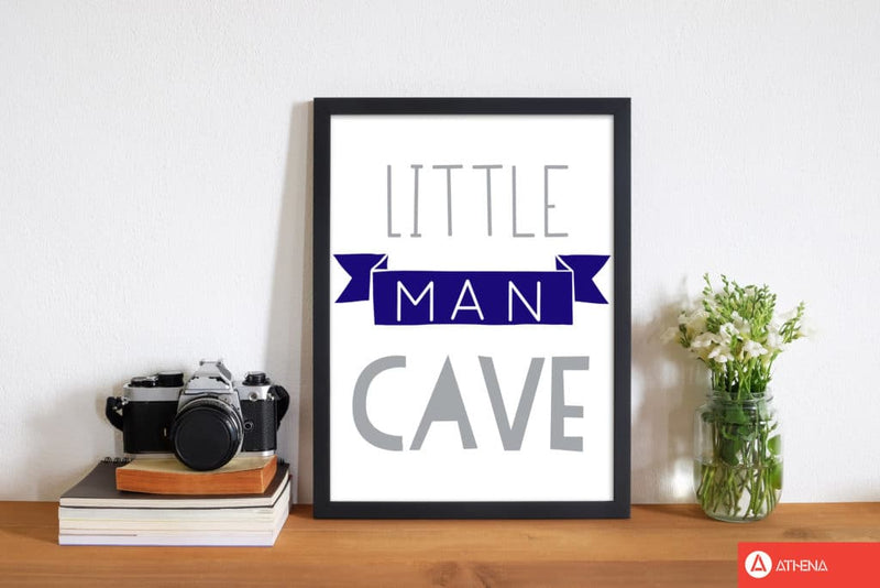 Little man cave navy banner modern fine art print, framed childrens nursey wall art poster