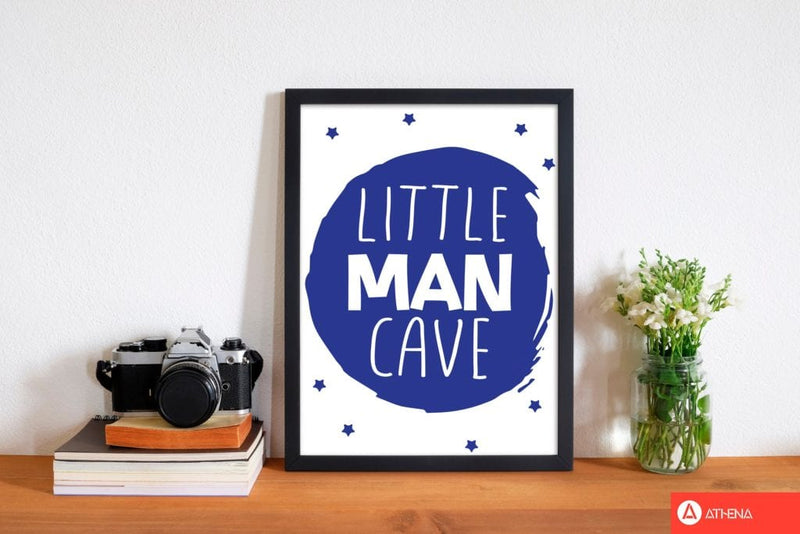 Little man cave navy circle modern fine art print, framed childrens nursey wall art poster