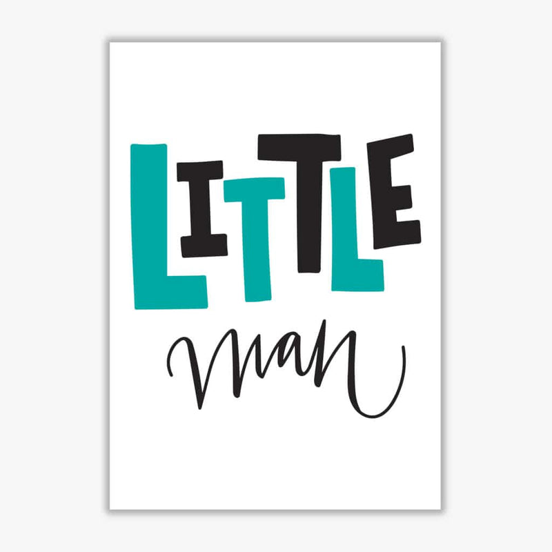 Little man teal and black modern fine art print, framed childrens nursey wall art poster
