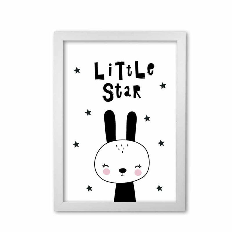 Little star bunny modern fine art print, framed childrens nursey wall art poster