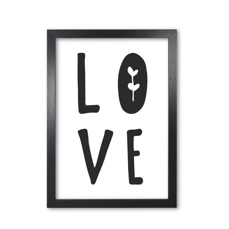 Love black modern fine art print, framed typography wall art