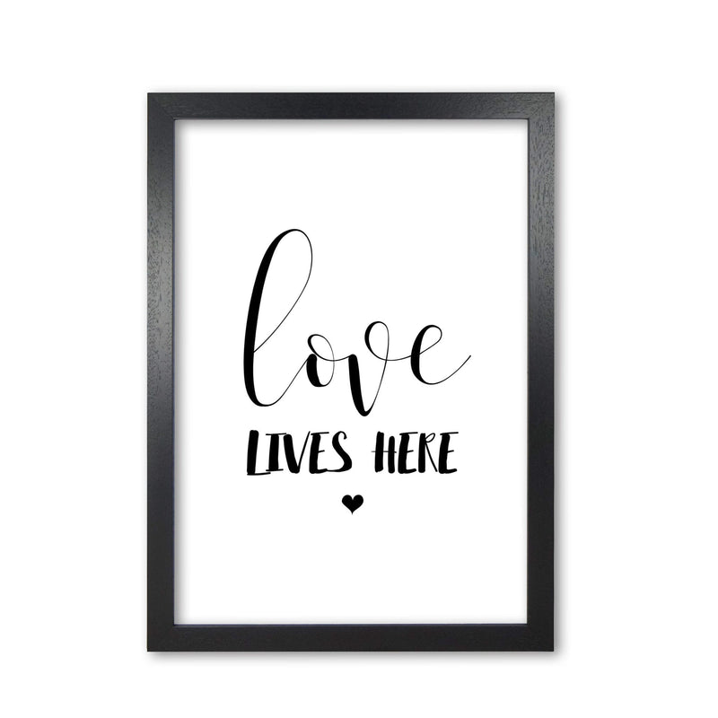 Love lives here modern fine art print, framed typography wall art