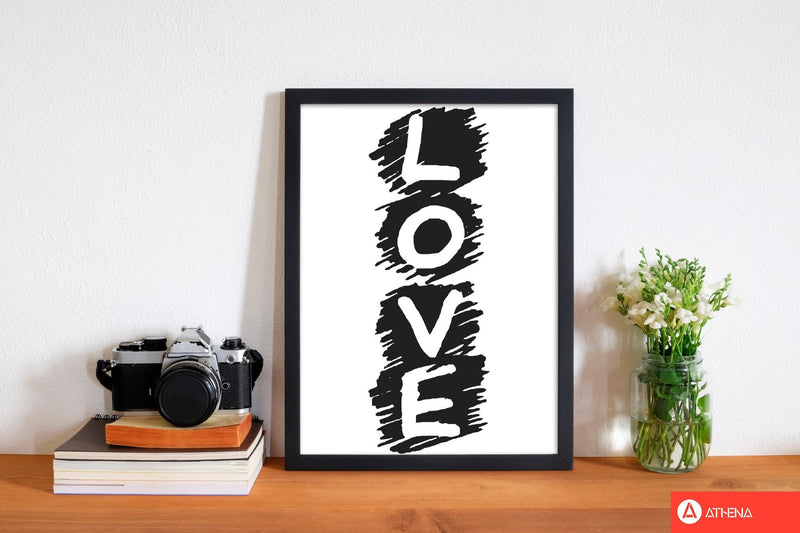 Love modern fine art print, framed typography wall art