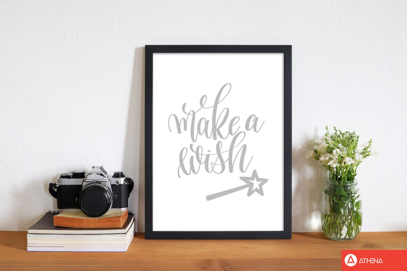 Make a wish grey modern fine art print, framed typography wall art