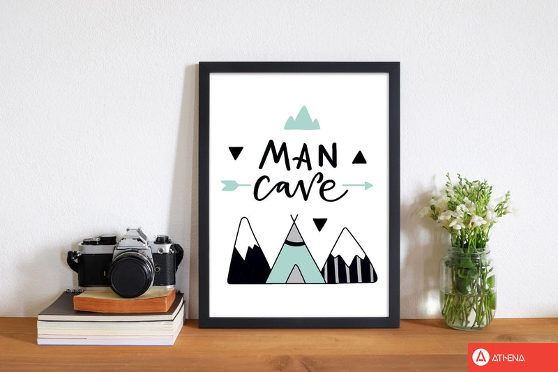 Man cave mountains mint and black modern fine art print, framed typography wall art