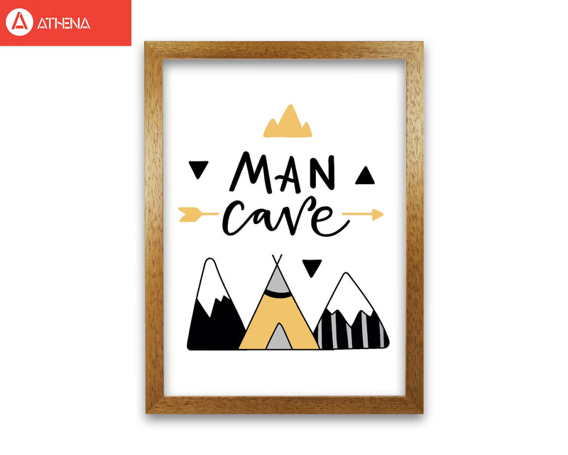 Man cave mountains mustard and black modern fine art print, framed typography wall art