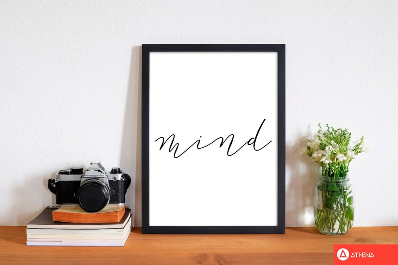 Mind modern fine art print, framed typography wall art
