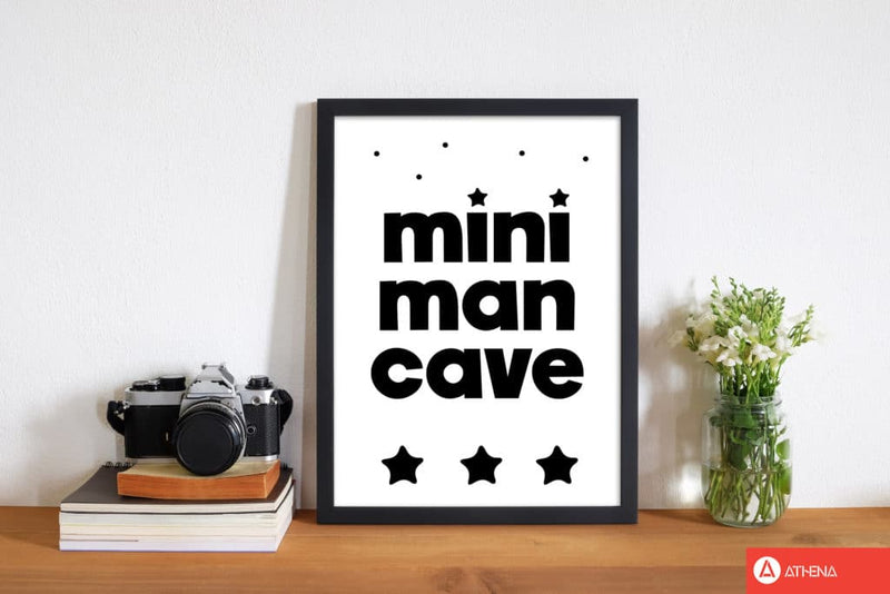 Mini man cave black modern fine art print, framed childrens nursey wall art poster