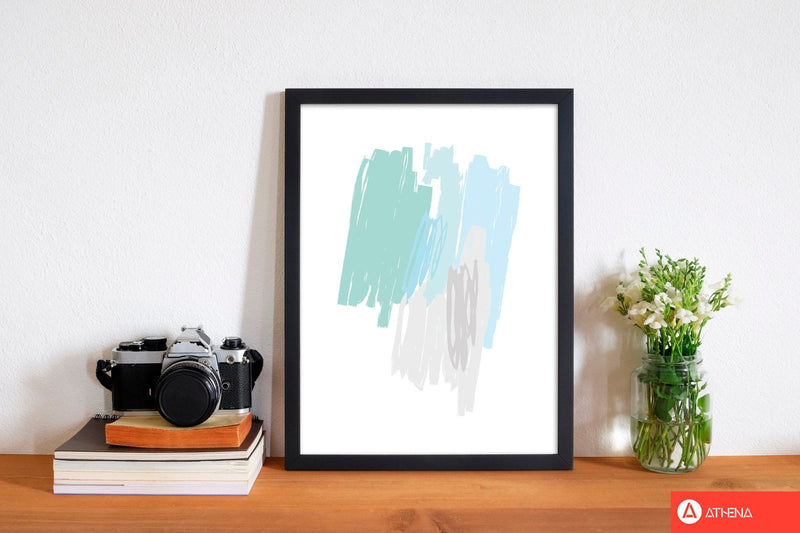 Mint scribbles abstract drawings modern fine art print