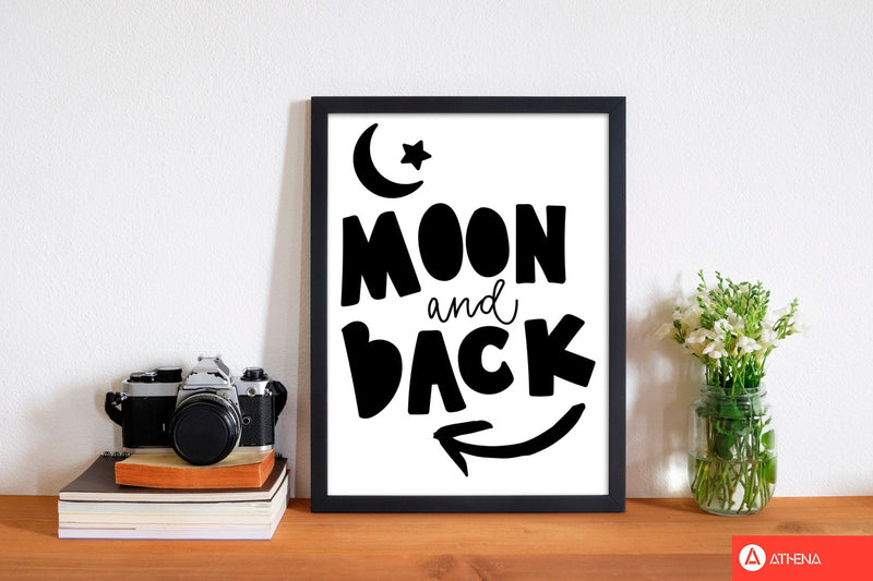 Moon and back black modern fine art print, framed typography wall art