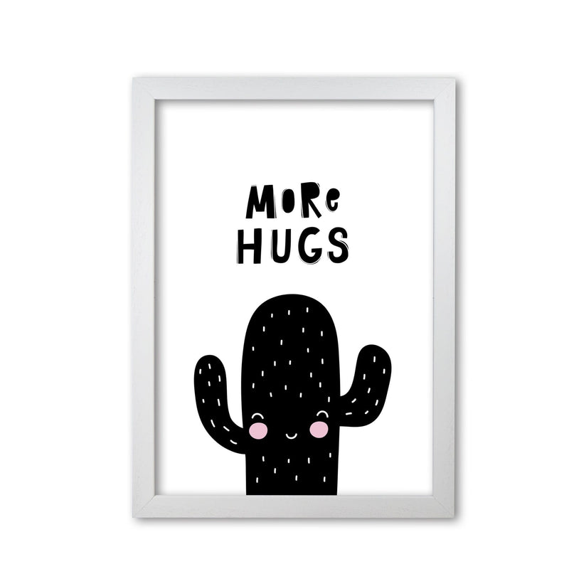 More hugs cactus modern fine art print, framed typography wall art
