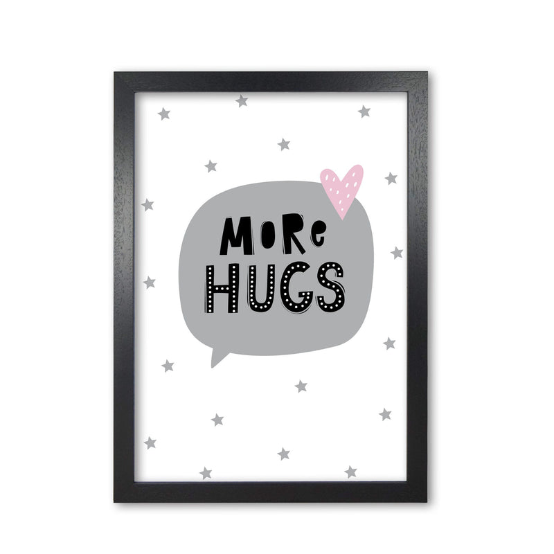 More hugs speech bubble modern fine art print, framed typography wall art