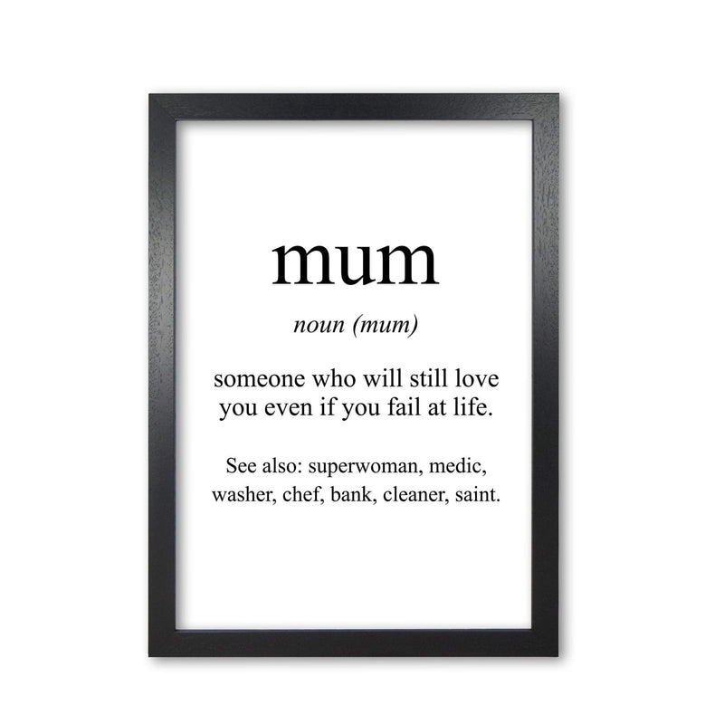 Mum modern fine art print, framed typography wall art